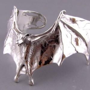 Sterling silver vampire bat cuff