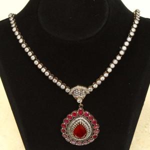 Handmade Sterling Silver Ruby Vampire medallion