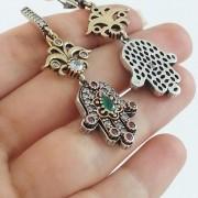 925 Sterling Silver Emerald HAMSA Hand Of Fatima Evil Eye Earrings