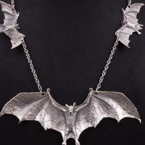 Beautiful solid Sterling sliver bat necklace